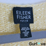 Eileen Fisher PL Yellow Knit Linen Blend V Neck Pullover Sweater