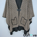 IC by Connie K M Tan Black Chevron Poncho Cardigan