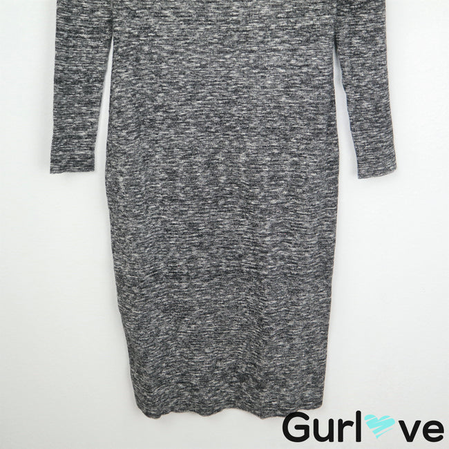 NWT MOTH Anthro L Gray Bodycon Long Sleeve Dress