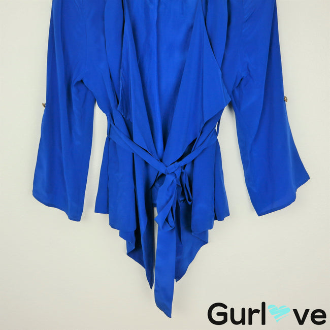 Yumi Kim M Blue Claudia Silk Draped Belted Jacket