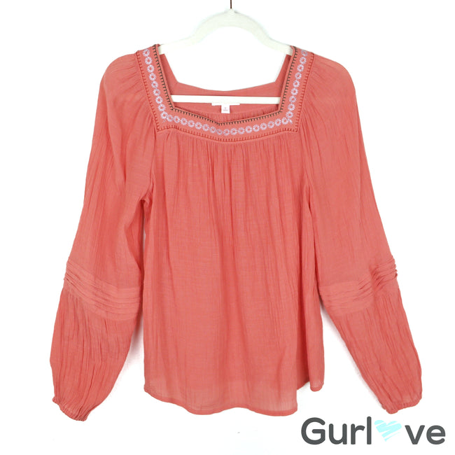 LC Lauren Conrad Orange Long Sleeve Embroidered Boho Blouse Size S