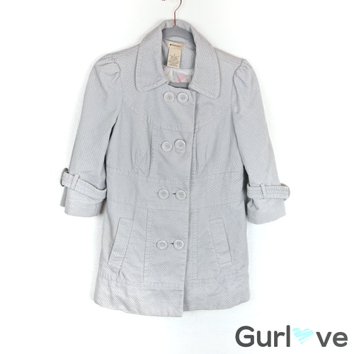 Anthro Elevenses Light Gray Corduroy Pea Coat Size 4