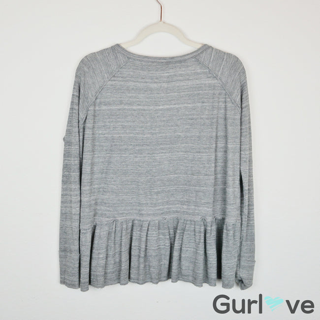 We The Free Gray  Coastline Peplum Thermal Size XS