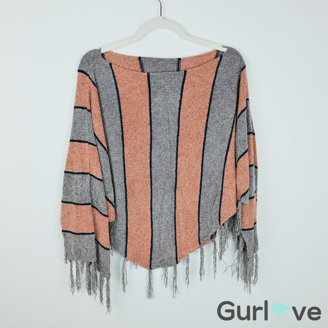 Striped Fringes Poncho Size M