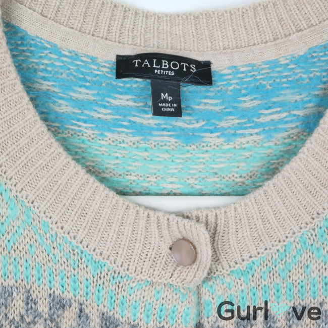 Talbots Petite Knited Multicolored Button Cardigan Size MP