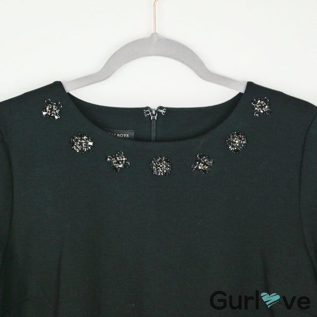 NWT Talbots Neck Embellishment Black Blouse Size L