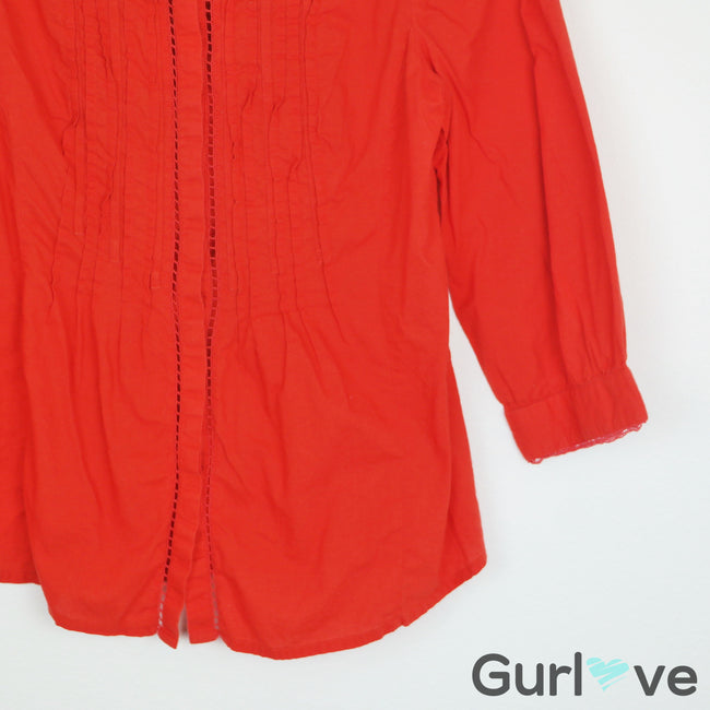 SALE Meadow Rue Orange Button Down Blouse Size 4