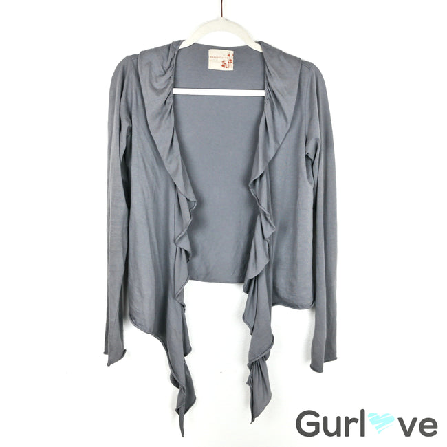 Ben and Lucia Grey Ruffle Cardigan Size P