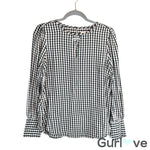 Ann Taylor LOFT Check Long Sleeve Blouse Size S