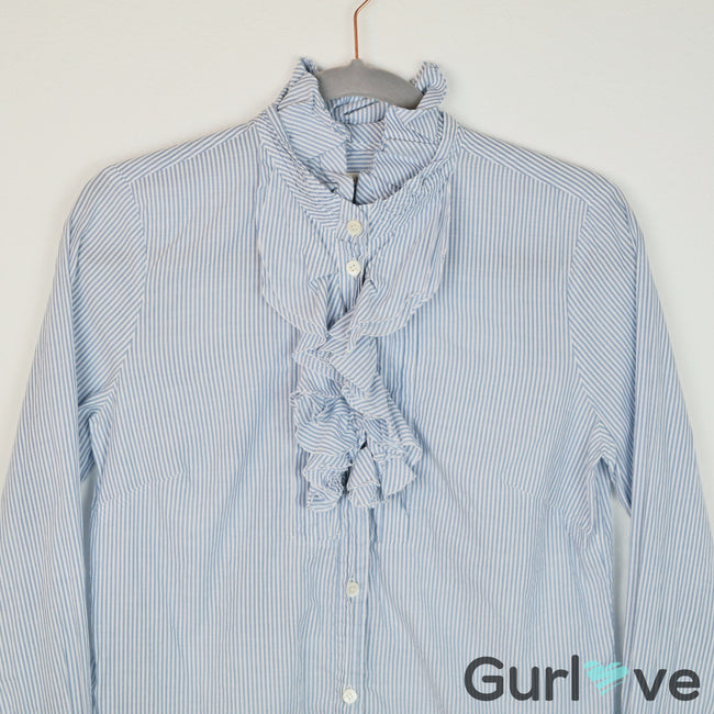 SALE J. Crew Striped Ruffle Button Down Shirt Size 6