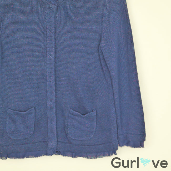 Boden Blue Knitted Pockets Buttoned Cardigan Size 8