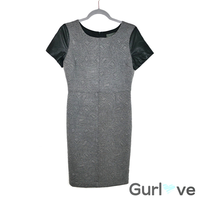 Sunday in Brooklyn Gray Faux Leather Sleeves Dress Size S