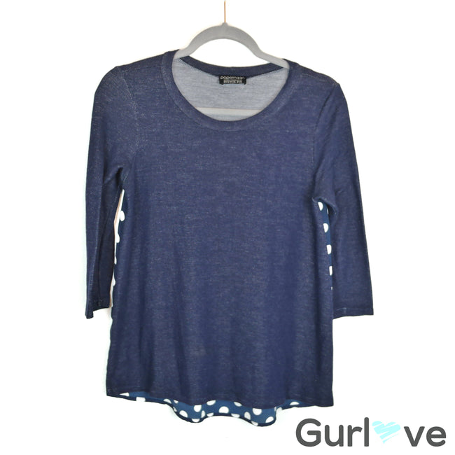 Papermoon Stitch Fix Blue Polka Dot Back Top Size XS