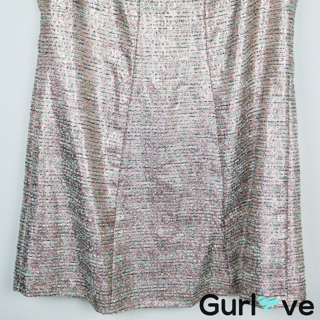 Tahari Metallic Rose Gold Tweed Sleeveless Dress Size 18W