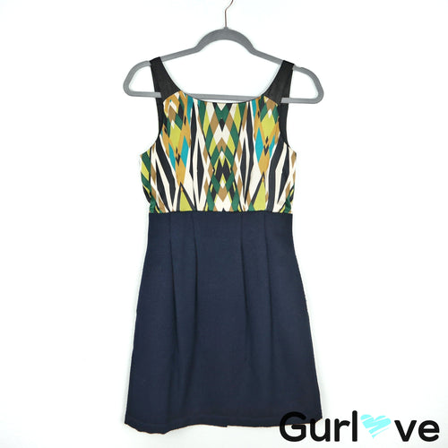 Anthro HYPE Blue Multi Color Pockets Sheath Dress Size 4