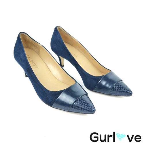 Talbots Blue Pointed Toe Leather Heels Size 6 M