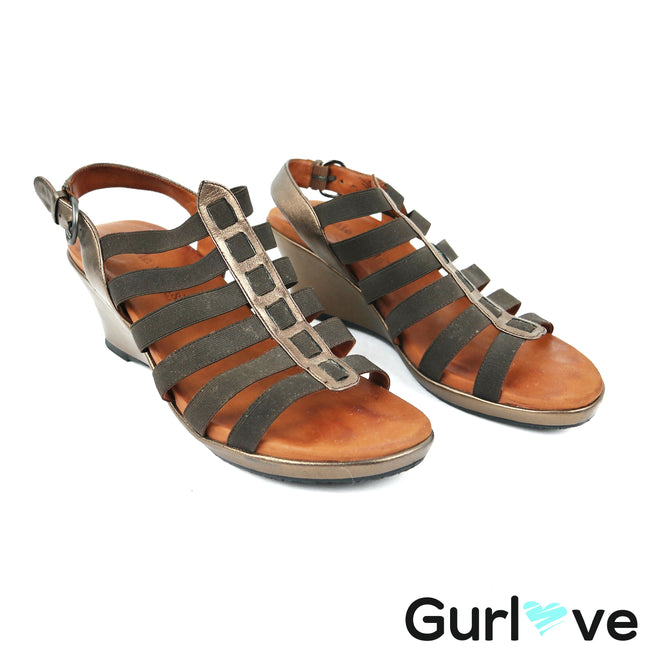 Gentle Souls Wedge Hammer Gladiator Sandals Size 8.5 M