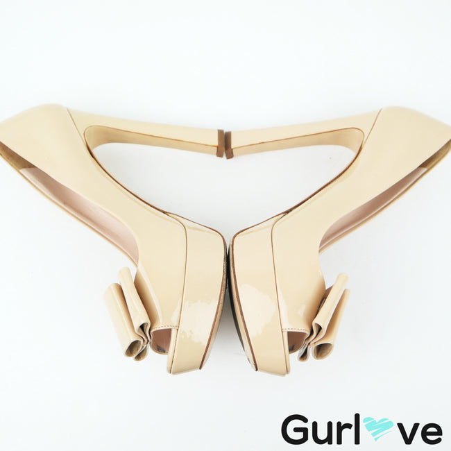 Miu Miu Blush Beige Bow Patent Leather Pumps Platforms Size 6.5