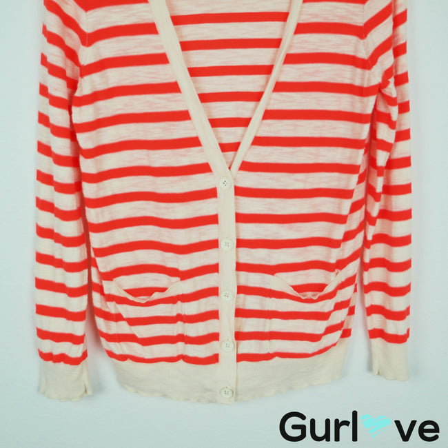 J. Crew Factory Striped Button V Neck Cardigan Size M