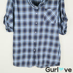 VINCE Blue Plaid Button Cowl Neck Oversized Shirt Size M