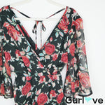 Band of Gypsies Black Floral Roses Romper Size S