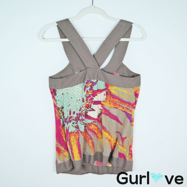 One September Anthro Halter Multicolor Blouse Size M