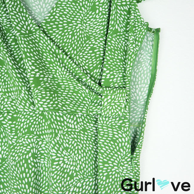 Ann Taylor LOFT Green Print Faux Wrap Mid Dress Size 8