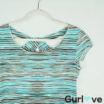 LAFAYETTE 148 NY Striped Short Sleeve Stretch Top Size L
