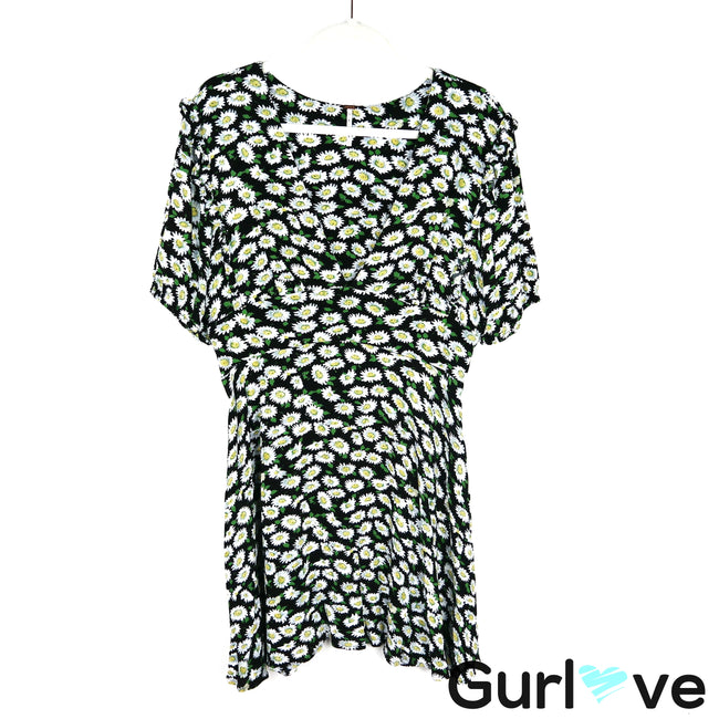 Free People Daisies Print V Neck Mini Dress Size 12