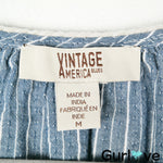 Vintage America Chambray Stripes Tassel Top Size M