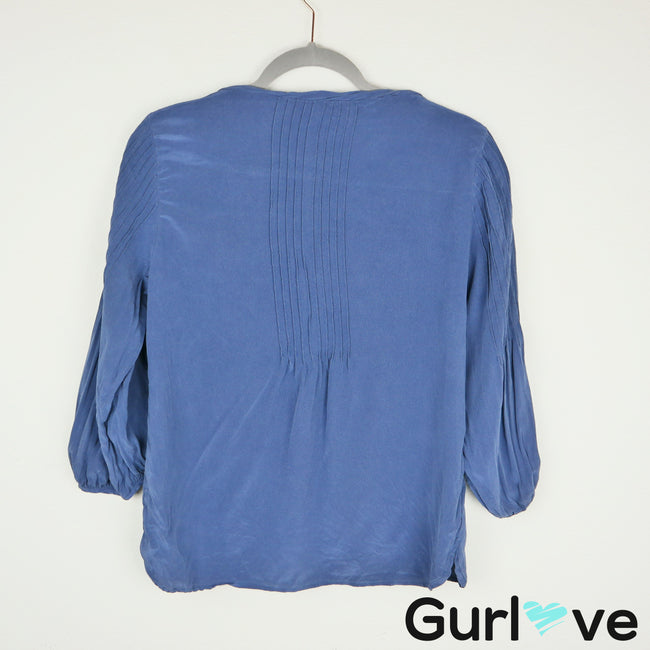 Tibi Blue Half Button Silk Blouse Size 4
