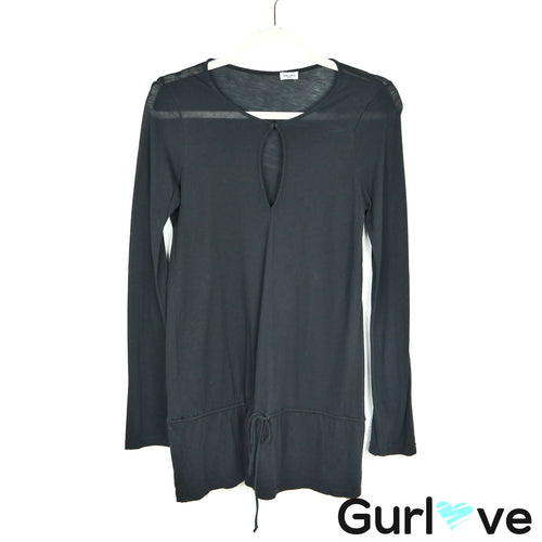 Splendid Black Long Sleeve Waist String Tee Size S