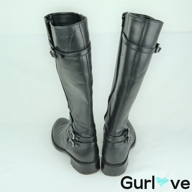 Ecco Size 7 Black Knee High Strap Buckled Boots