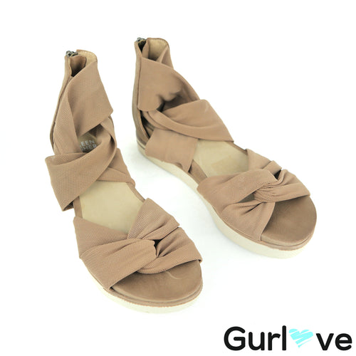 Eileen Fisher Size 5 Earth Tan Twist Strap Zanya Wedge Platform Sandal