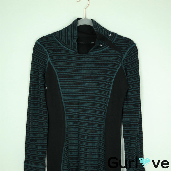 Prana Size XS Black Teal Kelland Striped Mock Neck Sweater Dress