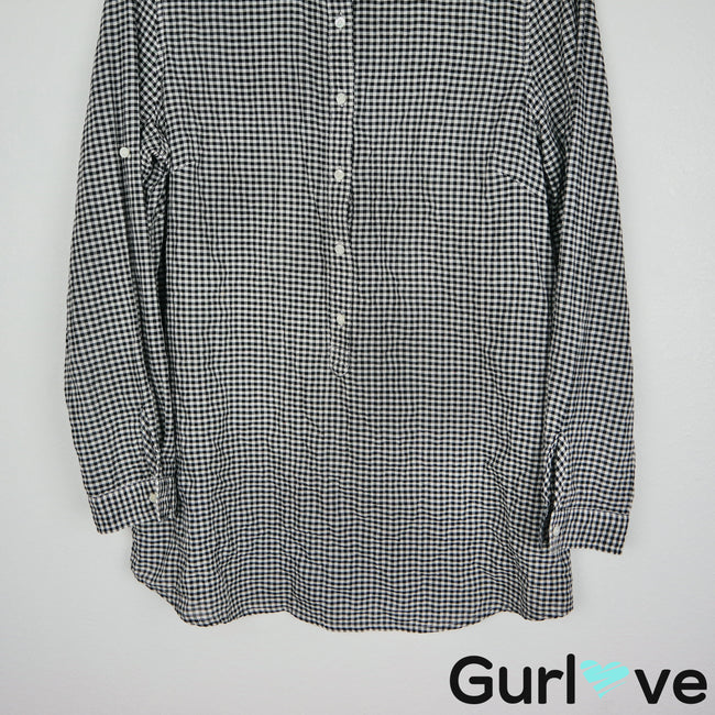 J. McLaughlin Size M Black White Gingham Henley Long Sleeve Top
