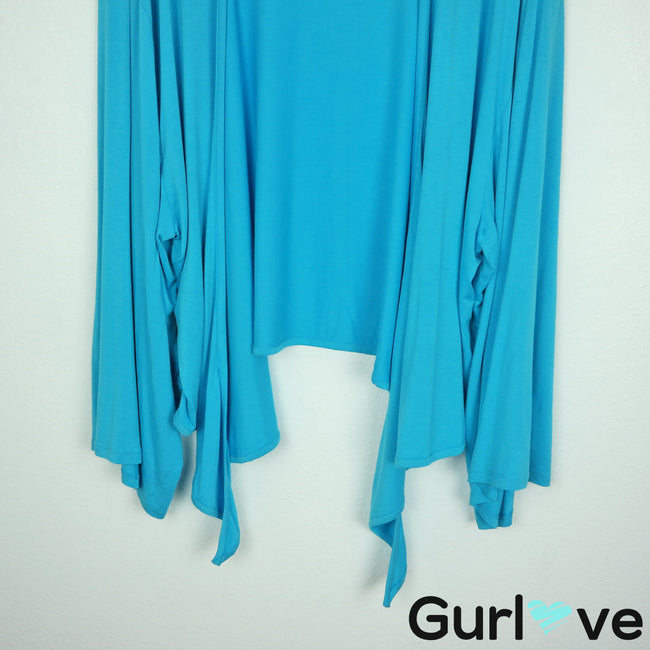Soft Surroundings Size XL Blue Waterfall Kimono Cardigan