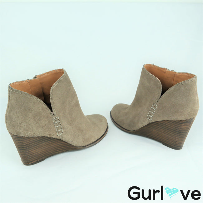 Lucky Brand Size 7.5M Yimme Gray Suede Leather Wedge Booties