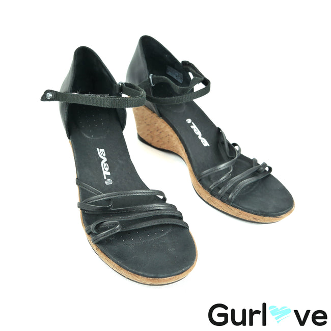Teva Size 10 Black Leather Strappy Wedge Heel Riviera Sandals