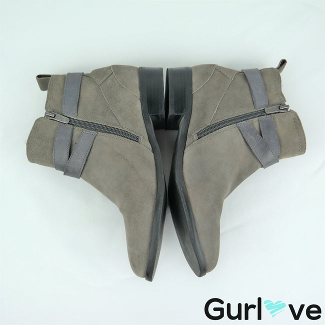 Marc Fisher Size 6 Gray Suede Charlie Belt Buckle Booties