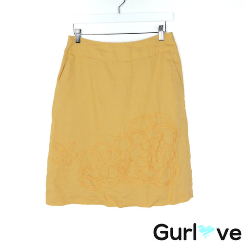 Boden Size 6R Yellow Floral Detail Pencil Skirt