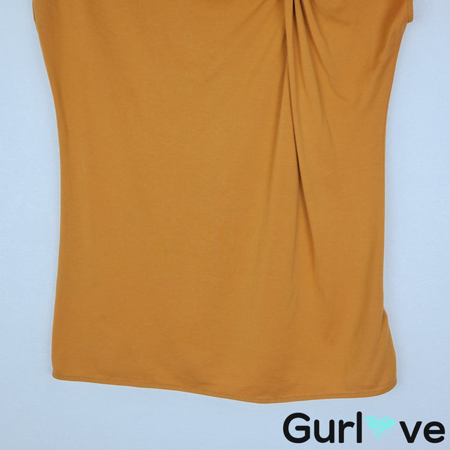 Uterque Size S Mustard Knot Short Sleeve Top Blouse
