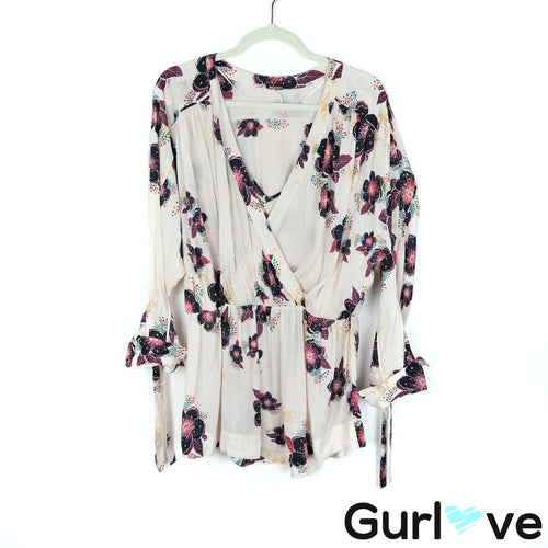 Free People Size S Tuscan Dream Boho Floral V Neck Long Sleeve Tunic