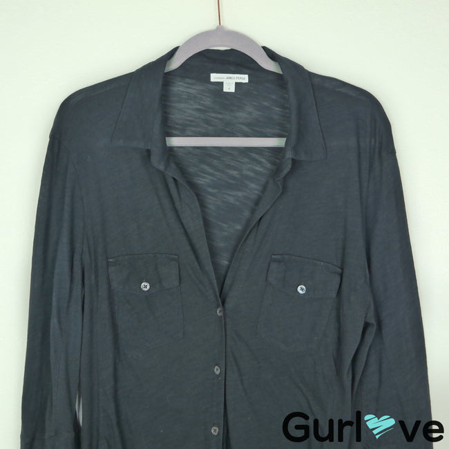 Standard James Perse Size XL Black Panel Button Shirt