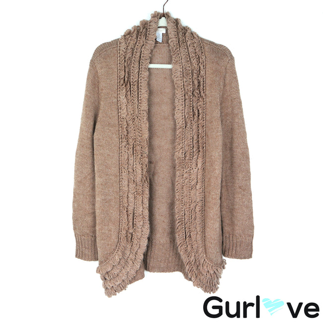 Chicos M Tan Knit Wool Open Cardigan Sweater