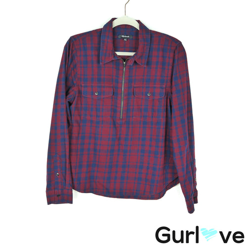 Madewell Size L Flannel Zip-Front Popover Shirt McKinney Plaid
