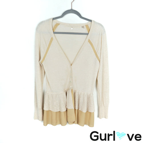 Anthro Knitted & Knotted Cream Peplum Layered Button Cardigan Size M