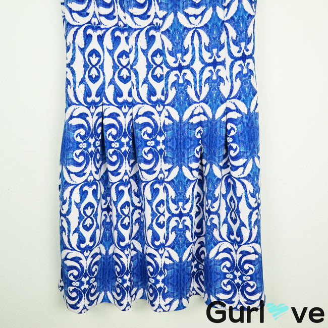 Gabby Skye Blue Printed Sleeveless Scuba Dress Size 12