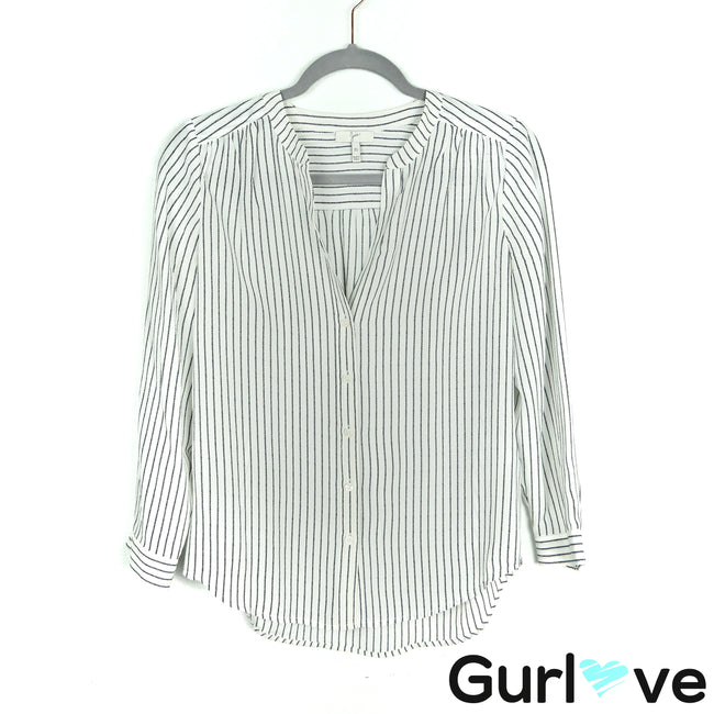 Joie White Striped Silk Button Down Shirt Size XS