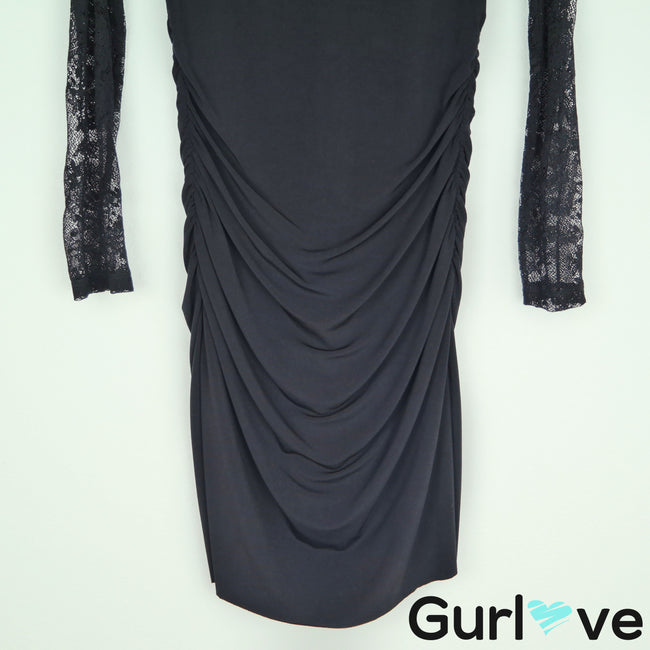 Velvet by G&S Black Laced Long Sleeve Cinched Dress Size L